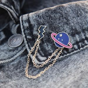 Planet & Lightning Enamel Pins With Chain